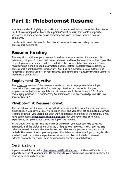 Resume Screening Techniques by Resume Writing Tips For Phlebotomists