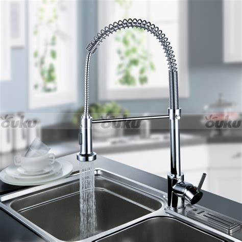 Us Modern Chrome Brass Pull Out Spring Kitchen Faucets