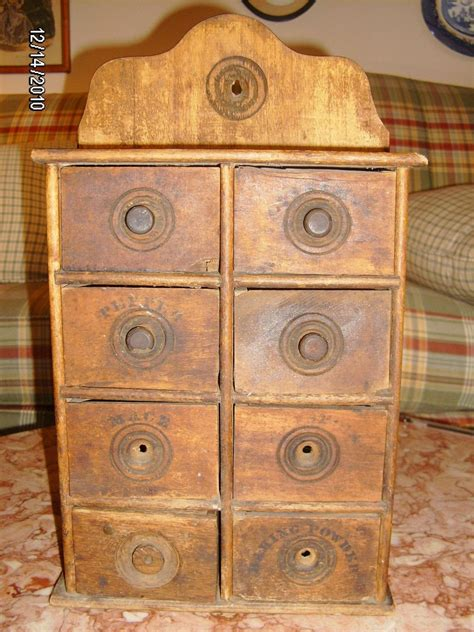 antique wood spice rack cabinet wall mount  drawers  myler