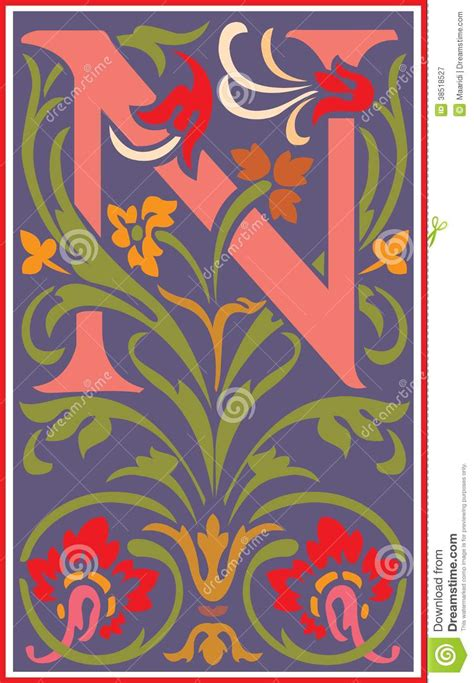 flowers decorative letter   color stock vector image