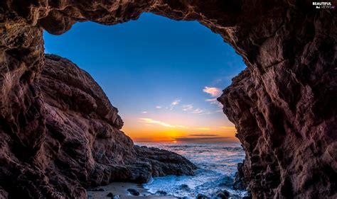 Coast, ocean, USA, west, Malibu, rocks, cave, sun ...