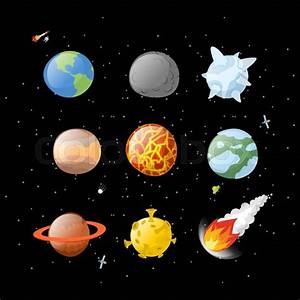 Planet set dark background. Dark space. Planets of solar ...
