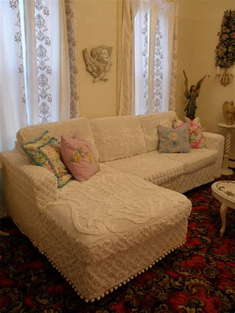 white shabby chic sofa shabby chic slipcovered sectional white vintage chenille bedspreads eclectic living room