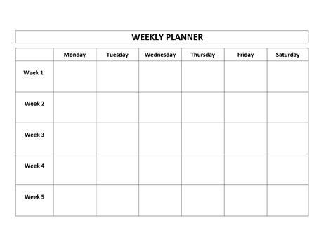 4 Week Schedule Template by 4 Weekly Calendar Monthly Calendar 2017