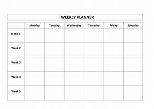 free printable weekly planner monday friday school With saturday to friday calendar template