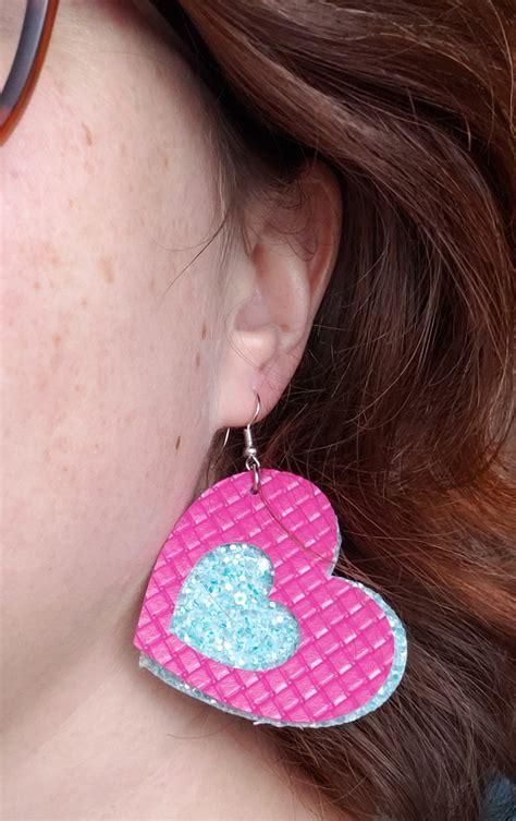 Diamond earrings svg, leaf earrings svg (or flame earrings svg if you use red this earrings svg bundle includes 3 earring designs. Heart Layered Faux Leather Earrings | Free SVG & Tutorial ...