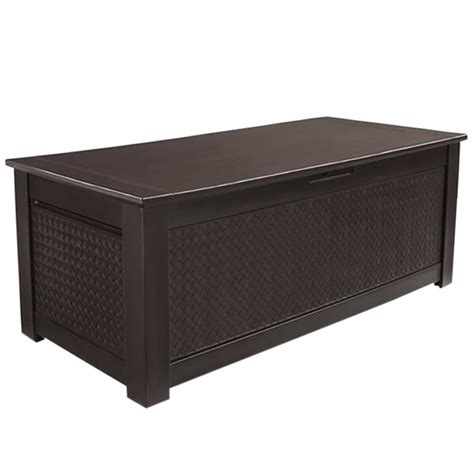 rubbermaid deck boxes home depot rubbermaid 136 gal chic basket weave patio storage trunk