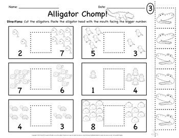 Alligator Greater Than Less Than Worksheets By Growing Special Seeds