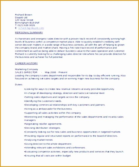 Sle Of A Curriculum Vitae by 5 Director Curriculum Vitae Templates Free Sles