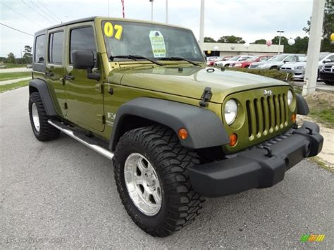 jeep metallic jeep green metallic 2007 jeep wrangler unlimited x