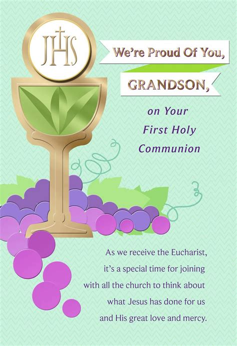 chalice  grapes  holy communion card  grandson