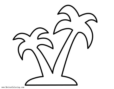 Palm Tree Coloring Pages Outlined