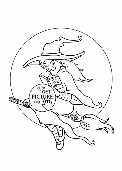 Halloween Pretty Witch Coloring Printable Pages Holidays
