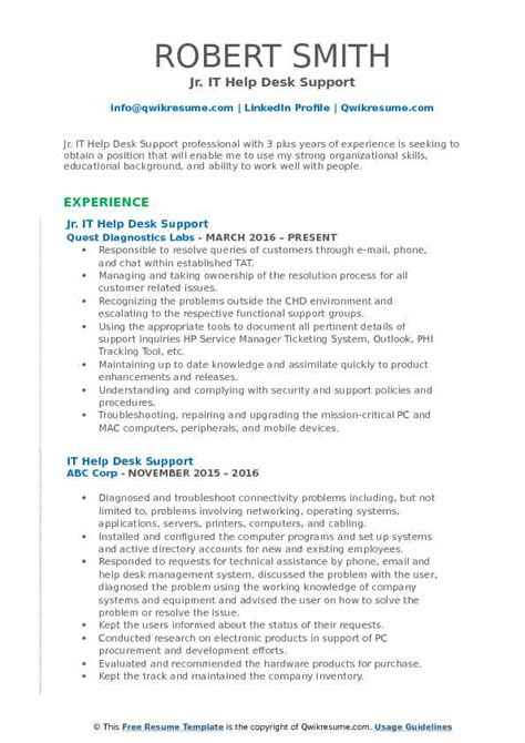 Resume Help by It Help Desk Support Resume Sles Qwikresume