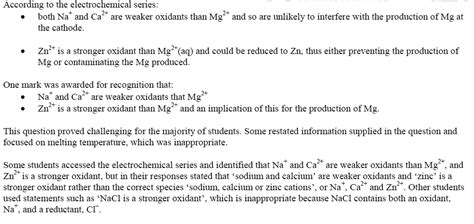 chemistry  exam questions electrolysis