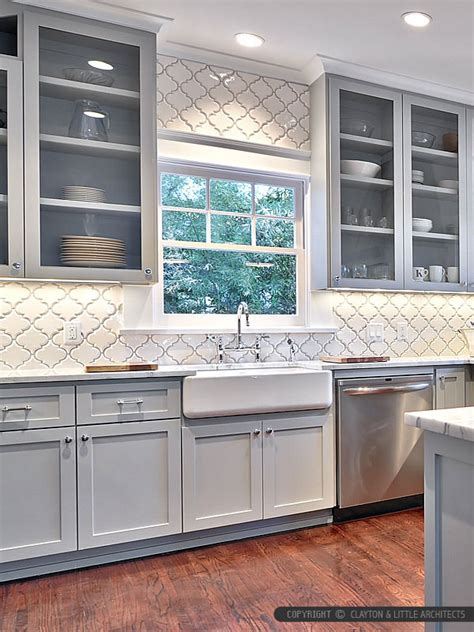 white ceramic arabesque mosaic backsplash tile