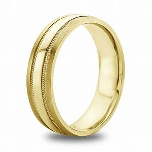 14K 18K White Or Yellow Gold Double Milgrain Inlay Mens