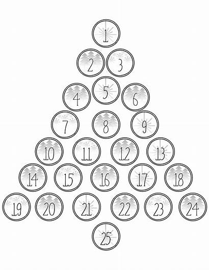 Advent Calendar Numbers Christmas Printable Countdown Tree