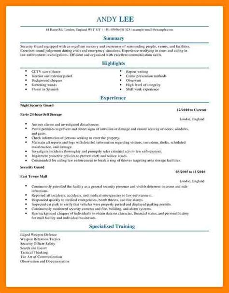 Security Supervisor Skills by 9 Security Supervisor Resume Writing A Memo