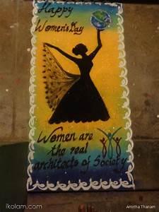 Rangoli women's Day FREEHAND RANGOLI www iKolam com