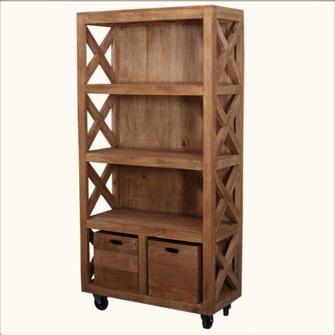 Appalachian Rustic Mango Wood Rolling Book Case Shelves W
