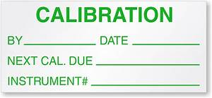 calibration by date next cal due instrument label With custom calibration labels