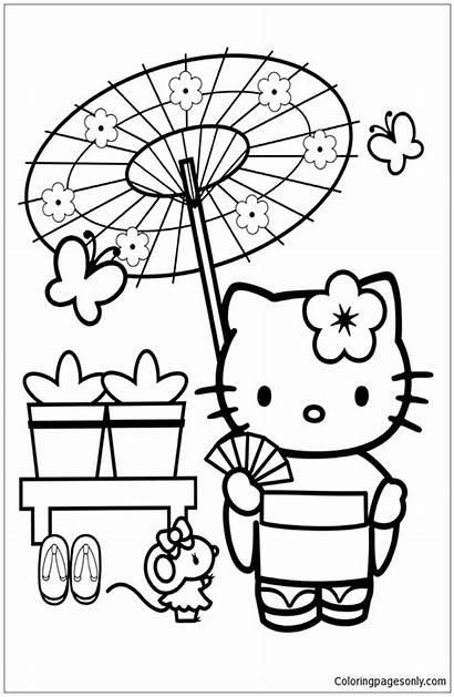 Coloring Kitty Hello Pages Japanese Japan Kimono