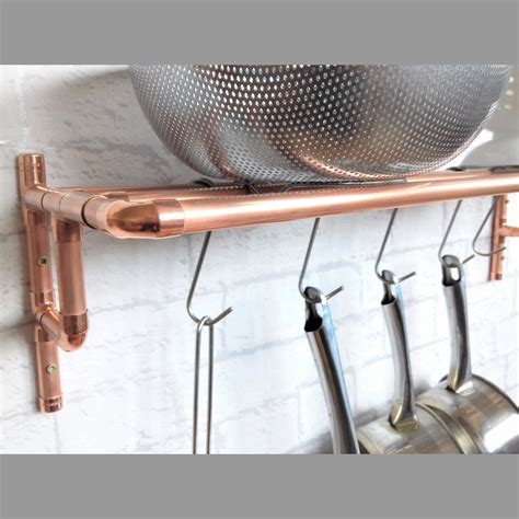 wall mounted copper pot pan rack   hanging hooks based   uk simply copper creates