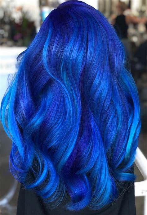 iridescent blue hair color shades blue hair dye tips