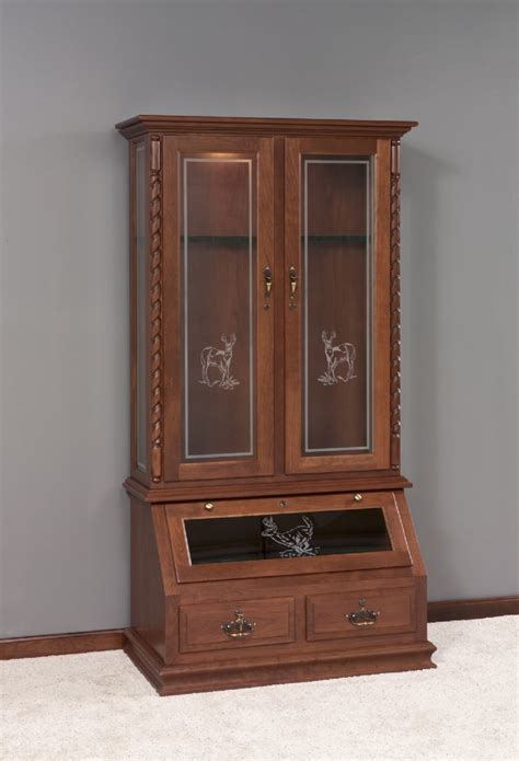 Wooden Gun Cabinets by Whitetail Solid Wood Gun Cabinet With Deer Design From
