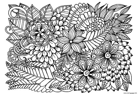 doodle flowers  black  white floral pattern coloring