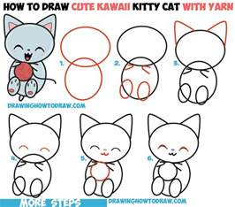 how to draw a cat step by step how to draw kawaii kitten cat with yarn