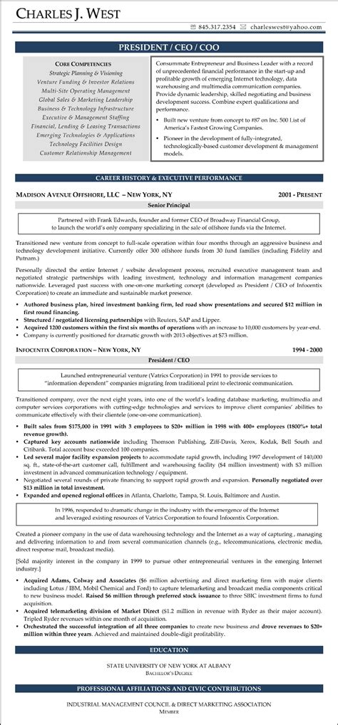 sample resume chief executive officer chief operating