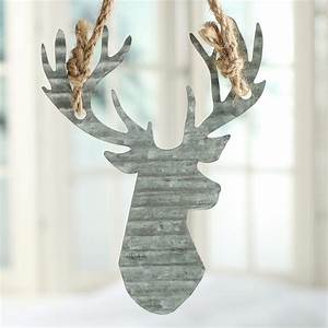Corrugated Galvanized Metal Reindeer Ornament - Christmas