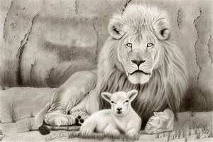 Lion Lamb Drawing at GetDrawings.com | Free for personal ...