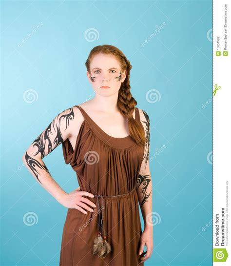 celtic redhead beauty stock photo image  legend adult