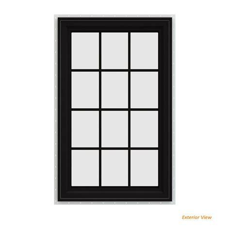 jeld wen        series black painted vinyl  handed casement window
