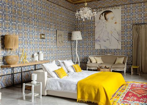 chambre bleu et jaune chambre exotique en couleur