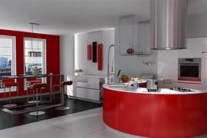 Table De Cuisine Grise : cuisine grise et rouge associations harmonieuses en 48 id es ~ Teatrodelosmanantiales.com Idées de Décoration