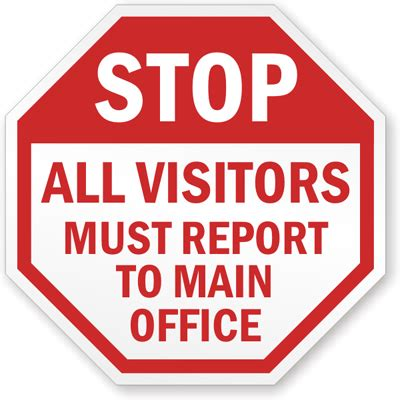 Stop  Visitors Must Report To Main Office Sign, Sku K. Ks1 Signs. Manifestation Signs Of Stroke. Piles Signs. Septic Signs Of Stroke. Temperature Signs. Cartoon Girl Signs Of Stroke. Antidepressant Signs. Style Signs