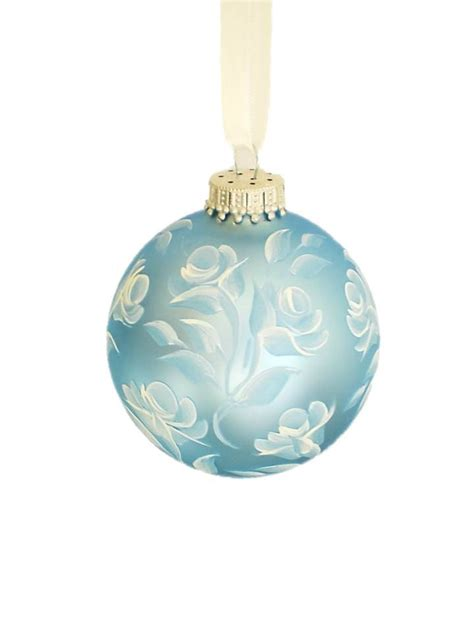 christmas ornament baby blue satin ball with hand