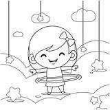 Hula Hoop Cartoon Twirling Illustrations Coloring Playing sketch template