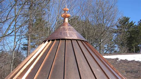 cupola roof custom finial with oval details in copper fi017