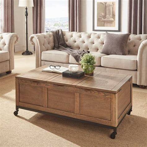 Find wood coffee tables, round coffee tables, trunk coffee tables and storage tables. Shay Rectangular Storage Cocktail Table with Removeable Tray and Caster Wheels by iNSPIRE Q ...