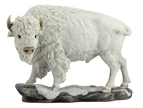 American White Buffalo Bison In Snow Statue Sculpture