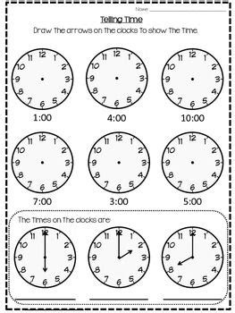 This Is A Simple Worksheet I Did For My Grade 1's To Complete For Telling Time To The Hour It