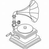 Player Record Drawing Gramophone Getdrawings sketch template