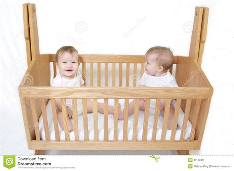 Baby Twins In Crib Stock Image. Image Of Happy, Baby