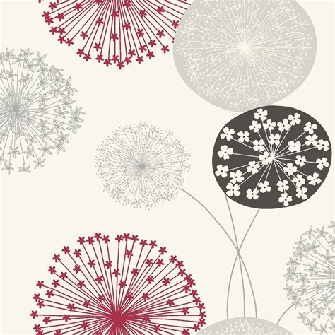 B&q Lucienne Grey & Red Floral Wallpaper Departments