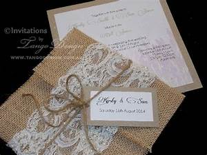 invitation with lace and pearls and wrapped by burlap or With diy hessian wedding invitations